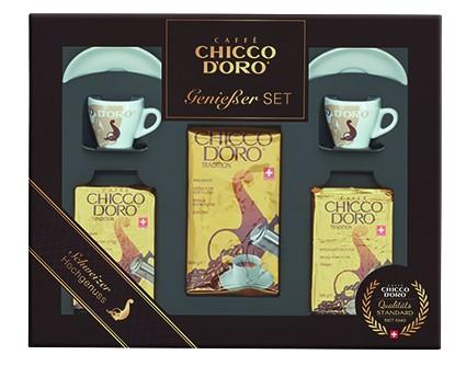 Chicco d'Oro Geschenkset 1   1 x 500 g + 2 x 250 g Tradition gemahlen, Espresso Tassen