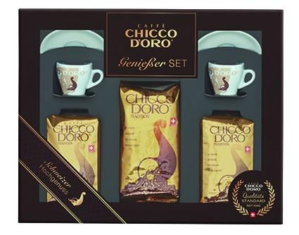 Chicco d'Oro Geschenkset 2 | 1 x 500 g + 2 x 250 g Tradition in Bohnen, Espresso Tassen